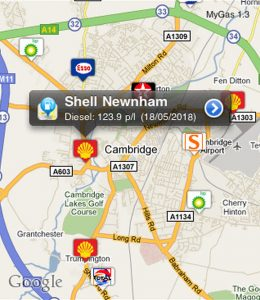 Cost of fuel map UK