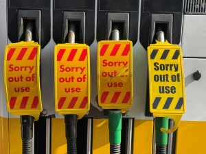 Petrol Pumps with Out OF Use labels attached during UK fuel shortage
